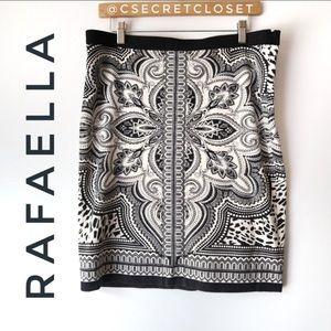 Rafaella Black Paisley Tight Pencil Skirt Size 12